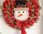 Natural Burlap Christmas Count down Snowman Wreath
