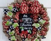 Natural BurlapBe Naughty Christmas Wreath (Flat Design Wreath)