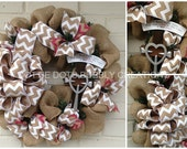 Natural Burlap & Chevron Easter Year Round Crucifix Cross Wreath