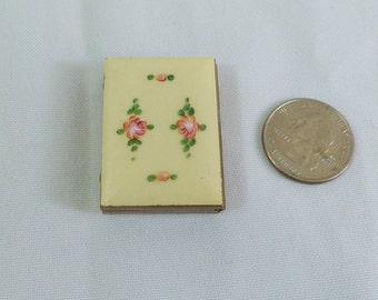 Vintage rare miniature French  guilloche enamel photo book.Lovely soft yellow with pink roses