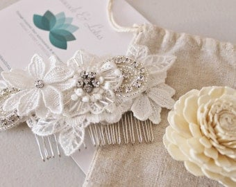 Floral Lace Bridal Hair Comb in Light ivory lace