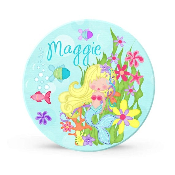 Kids Personalized Plate - Mermaid Under the Sea Party Melamine Plate for Girls - Plastic 10 inch Plate