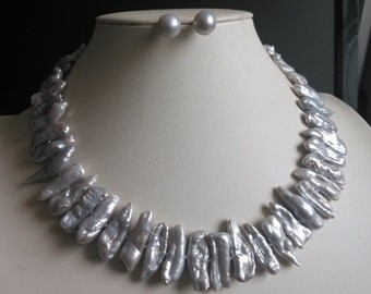 PEARL SET -gray biwa pearl necklace & earring set - US E-packet shipping service 7-15 days delivery