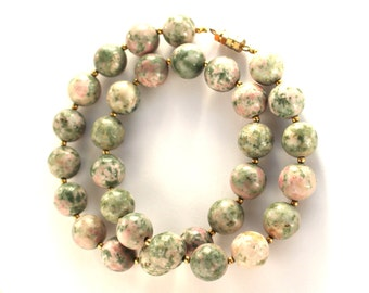 VINTAGE Unakite Natural Stone Necklace