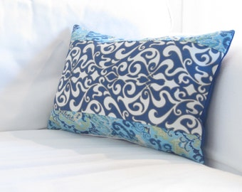 """Outdoor Pillows, Pool Pillows, Blue Paisley Indoor Outdoor Lumbar, Patio Pillows, Lumbar Pillows,12""""x18"""" in decorative pillow,Lumbars"""