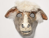 Paper mache sheep mask