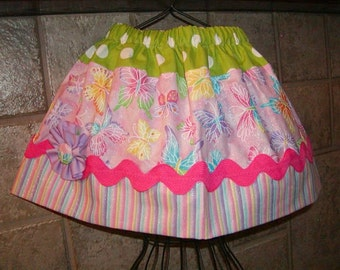 Butterfly Dots N Stripes..Girls Skirt, Twirl skirt. Available in 0-12 months, 1/2, 3/4, 5/6, 7/8, 9/10 Bigger Sizes Available