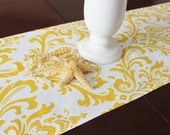 Yellow Table Runner Table Cloth Runner Yellow and White Damask Runner Premier Prints Traditions Table Runner