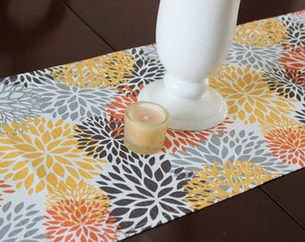 Table Runner Table Cloth Runner Table Runner Premier Prints Blooms Chili Orange Yellow Brown Gray