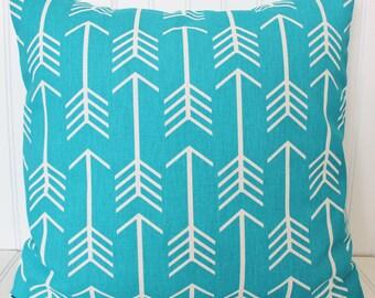 Aqua Blue Pillow, Arrow Pillow, Throw Pillow, Decorative Pillow, Blue Arrow Pillow. Cushion Cover, Accent Pillow. Playroom Pillows, Decor