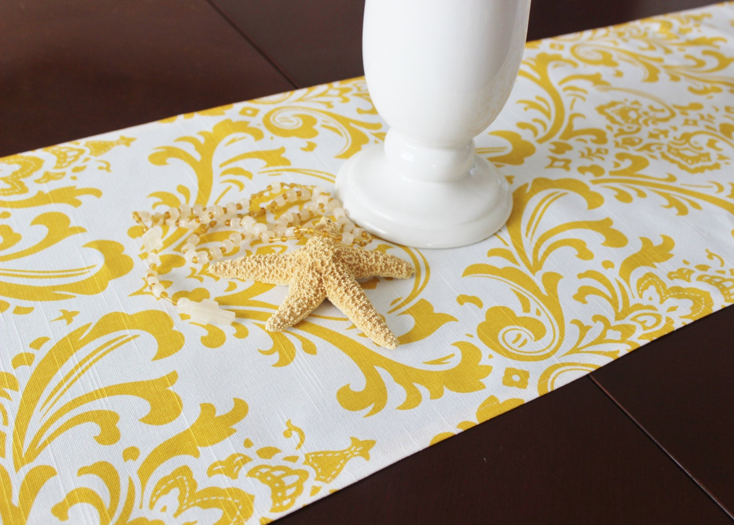 Yellow Table Runner Table Cloth Runner Yellow And White Damask