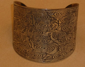 """Celtic Jewelry - Handmade Intricate Celtic Spirals Cuff Bracelet Etched in Nickel - made for a 6 1/4"""" wrist - Ready to Ship"""