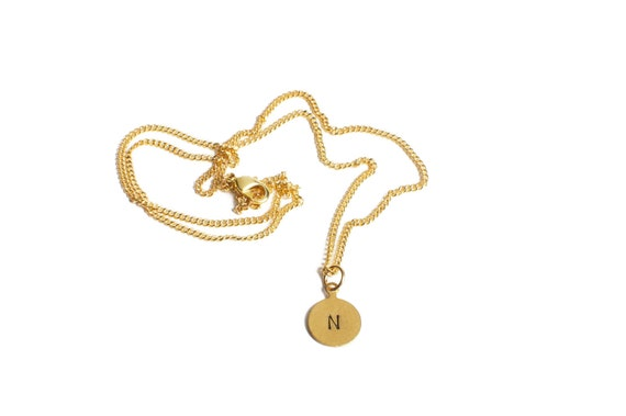 """Initial Necklace, Brass Custom Hand Stamped, 18"""", 24"""" or 30"""" Gold-Fill Chain"""