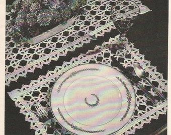 Crochet Pattern, Crochet Placemat Pattern, Crochet Runner Pattern, Instant Download, Downloadable Patterns, doily pattern, vintage pattern