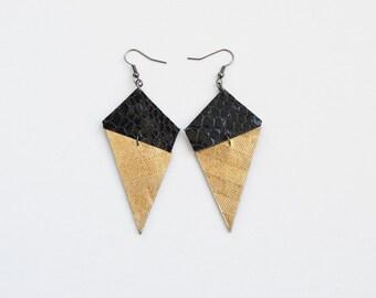 Geometric earrings, leather earrings, black and gold earrings, triangle earrings, elegant earrings, minimal earrings, gift for her