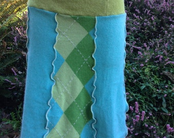 Sweater Skirt, Handcrafted from Upcycled Clothing, Wool and Cashmere, Argyle Patchwork in Lime Green and Aqua Blue, LG-XL, #SK225