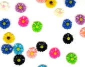 50 Resin Multicolor Flower Cabochons for Jewelry Making Crafting