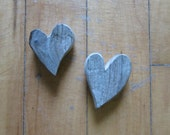 2 Handcrafted Matching Driftwood Heart Shaped Cut Outs One of a Kind Craft Supplies