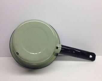 Green Enamel  Dipper Sauce Pan with black handle