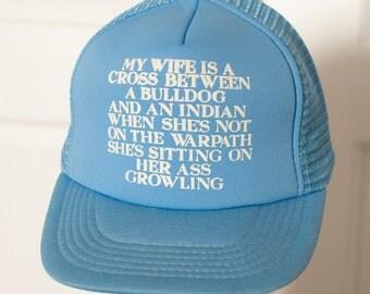 Vintage Light Blue Hilarious Mesh Trucker Hat - adjustable - husband wife humor