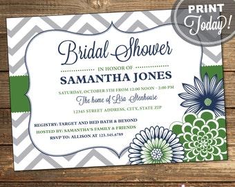 Printable Wedding Shower Invitation, Bridal Shower Invite, Chevron, Floral, Navy Blue, Green, Printable (Custom Order, INSTANT DOWNLOAD)