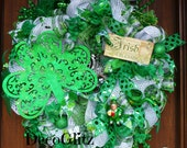"30"" Deco Mesh IRISH BLESSINGS St. Patrick's Day Wreath"