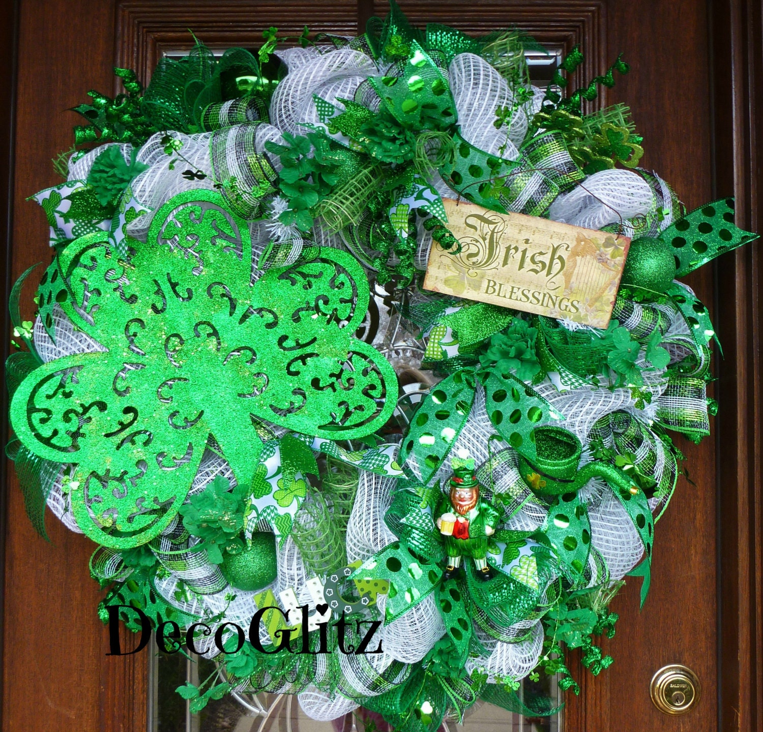 30 deco mesh irish blessings st patrick 39 s day wreath by decoglitz. Black Bedroom Furniture Sets. Home Design Ideas