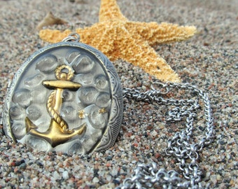 Nautical Anchor-Locket Necklace-Anchor Necklace-Photo Locket-Beach Jewellery-Beach Wedding-Mermaid Necklace