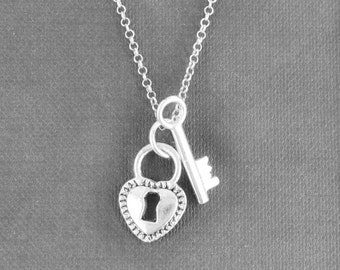 Heart Necklace, Key Necklace, Locket Necklace, Charm Necklace, Sterling Silver Necklace