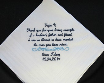 Embroidered Wedding Handkerchief for the Father of the Groom