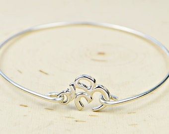 Om Bangle Bracelet-  Rhodium Plated Pewter Ohm Symbol and Sterling Silver Filled Wire Wrapped Bangle- Custom Made to Size