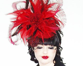 Ascot Races Poppy Red Pillbox Hat