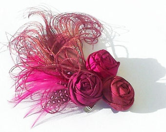 Pink Peacock Feather and Silk Rosette Hair Clip