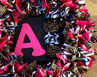 Animal Print Rag Wreath, Cheetah, Leopard, Zebra Decor, Fabric Wreath, Pink Wreath, Girl Door Hanger, Animal Print Decor, Baby Shower Gift