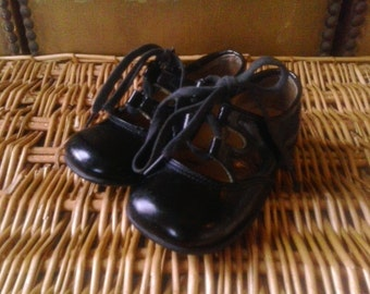 70s black patent toddler shoes