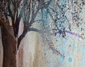Tree Bark Nature Landscape Painting,  Mixed Media Acrylic 18x24x1 Canvas for the Forest  by Sherischart- Sheri Wilson