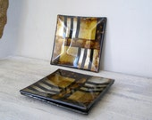 Vintage Golden Black Small platter Set, Artistic Decoupage Glass square Snack Plate Bowl, Tabletop Abstract geometric Decorations Plates