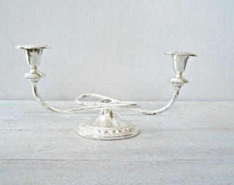Art Deco Two Arms Candelabra, Silver plated Short Swirl Candlestick Candelabra, Traditional Victorian Style Tableware, Mantle Decorations
