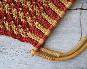 Rustic Macrame Market Tote bag, Natural Bamboo Rope Grocery Handbag, Country Shopping Rough Basket Bag, Mustard Red Wooven Boho Shabby Bag