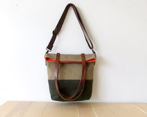 Waterproof Foldover Bag - Convertible Tote - Waxed Canvas Base - Cotton Adjustable Strap - Leather Handles - Orange Lining