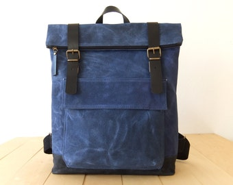 "Waxed Canvas Backpack in Blue - Adjustable Cotton Straps - Zippered Foldover Closure - Leather Accessories - 15"" Laptop - Waterproof Bag"