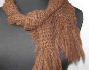 Medium Brown Alpaca Scarf with Fringe