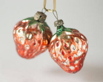 Mid century glass decorations red, strawberries Christmas ornaments red shade, Soviet New Year's ornament berries, Xmas tree trim delicate