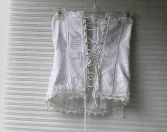 white  Boned  strapless Corset  size 32