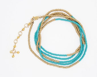 B6781 - turquoise and gold wrap bracelet/necklace