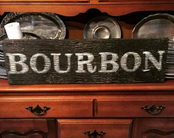 Large Bourbon Reclaimed Barnwood Sign