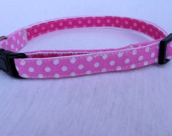 Cat Collar/ Pink with White Polka Dots 3/8 inch Large
