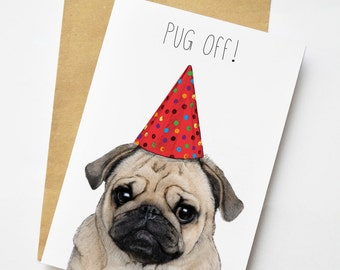 Pug Off Illustration Greeting Card