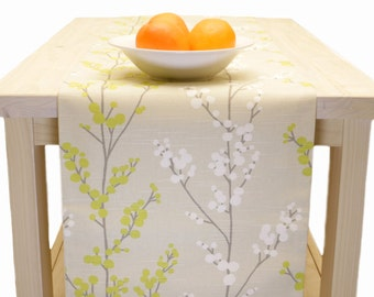 Table Runner Beige Lime Yellow Floral, Yellow Lime Beige Floral Table Runner  60 inch, 72 inch, 96 inch, 108 inch, 120 inch