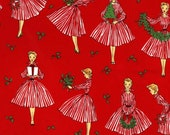 Christmas Fabric for quilt or craft Michael Miller Holiday Hostess in Red Half yard